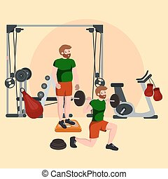 Sports and Fitness People, Workout man in gym vector illustration.