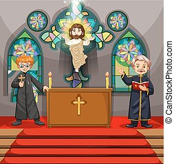 Two priests in the church illustration