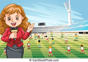 Reporter reporting sport news illustration
