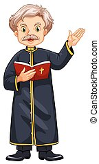 Priest preaching from bible illustration