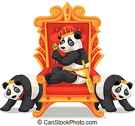 Three pandas at the throne illustration