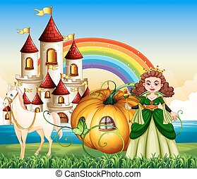 Queen riding on pumpkin carriage illustration