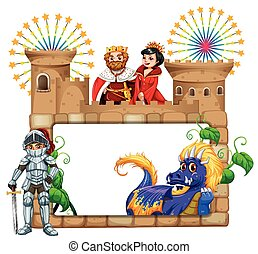 Frame design with fairytales characters illustration