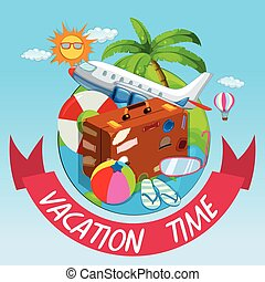 Vacation time with bag and airplane illustration
