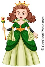 Queen in green gown illustration