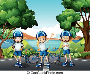 Three girls riding bike on the road illustration