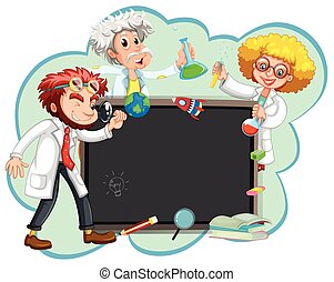 Three scientists by the board