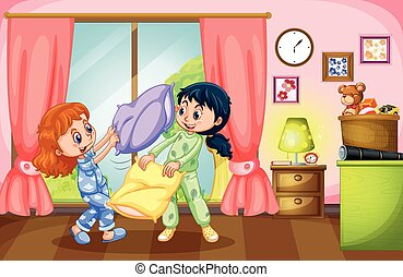 Two girls playing pillow fight