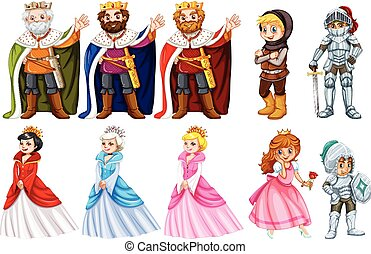 Different fairytales characters on white background...