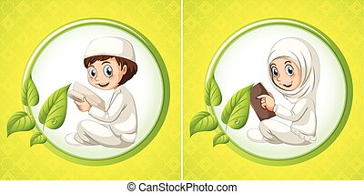 Muslim boy and girl reading book