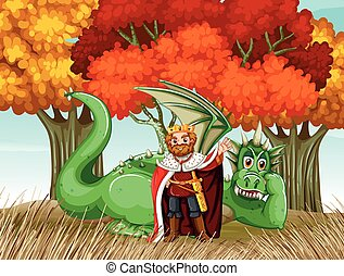 King and dragon in the field illustration