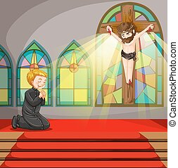 Priest praying in the church illustration