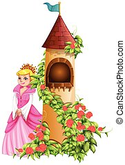 Queen and castle tower illustration
