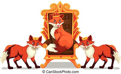 Foxes sitting on the throne illustration