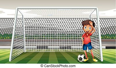 Goalkeeper standing at the goal