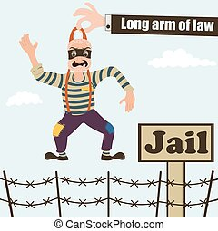 long arm of law - funny vector illustration of an long arm...