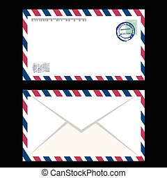 Air mail envelope with postal stamp isolated.