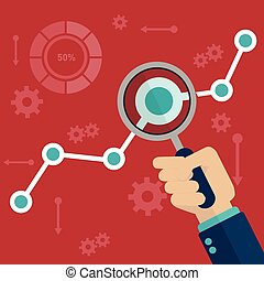 Flat vector illustration of web analytics information and development website statistic