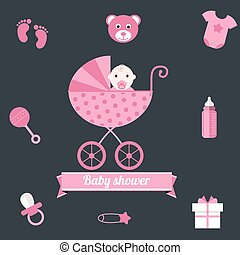Baby shower icons set, girl pink
