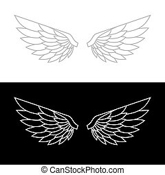 Wing Icon Set. Vector