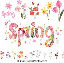 Spring set. Phrase made of flowers, isolated objects. -...