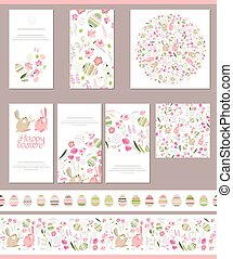 Floral spring templates with cute rabbits and painted eggs -...