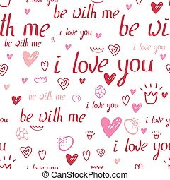 Floral seamless pattern made of red hearts and phrase I love you