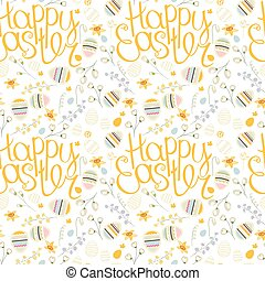 Festive spring seamless pattern. Endless texture with phrase...
