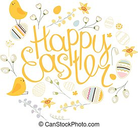 Spring set Phrase Happy Easter Painted eggs, spring...