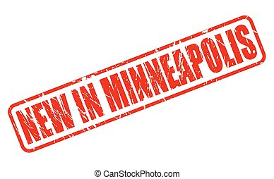 NEW IN MINNEAPOLIS red stamp text on white