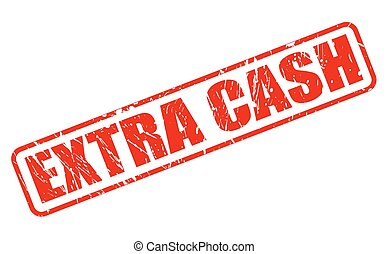 EXTRA CASH red stamp text on white