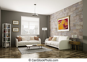 Modern living room 3d rendering - Modern living room...