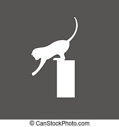 Cat playing reaching, flexible agile animal, vector...