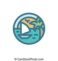 Yacht sailing around the island of dreams with palm trees and sun seagulls linear illustration