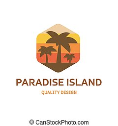 Paradise Island flat vector logo for your company trending modern high quality style