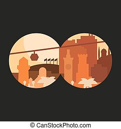 City through binoculars building palm flags in pastel shades at sunset