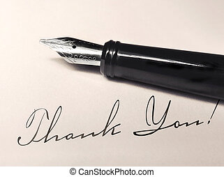 thank you writing and fountain pen on paper