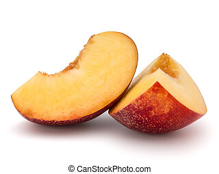 Nectarine fruit slice isolated on white background close up