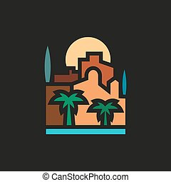 Palm trees and building with sea at sunset