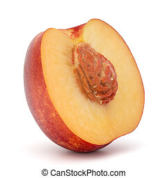 Nectarine fruit half isolated on white background close up -...