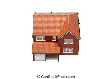 Model house from above isolated