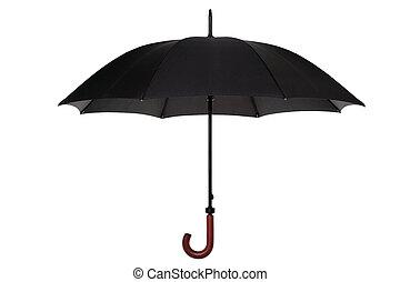 negro, paraguas, aislado