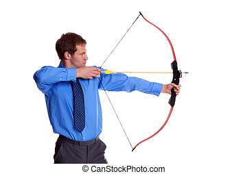 Businessman bow and arrow side view - Businessman with a bow...