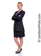 Blonde businesswoman full length