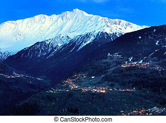 illuminated villages in alps - villages illuminated at night...