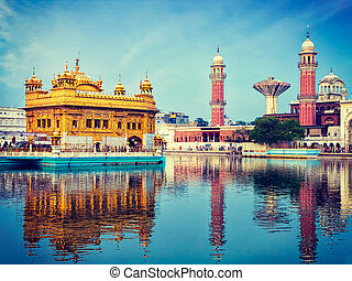 Golden Temple, Amritsar - Vintage retro effect filtered...