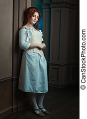 Retro Girl maid. - Woman dressed in Renaissance style as a...