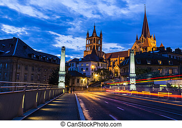 Lausanne Cathedral at night Lausanne, Vaud, Switzerland
