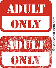 Adult only sign - shabby stamp