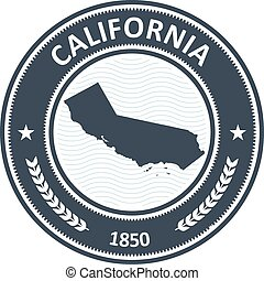 California state silhouette - stamp